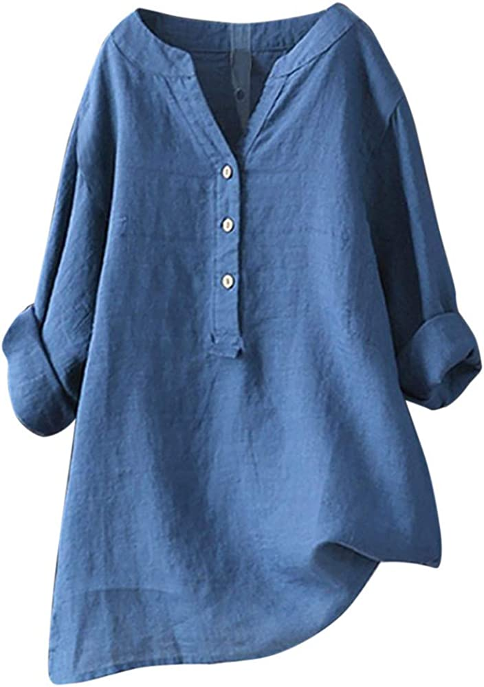 WUAI-Women Tops and Blouse Casual V-Neck 3/4 Roll Sleeve Loose Button Up Tunic Shirts Summer Flowy Comfy Tops