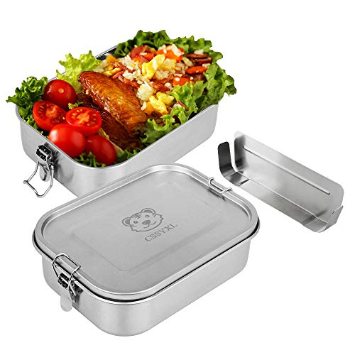 Bento Lunch Box Large 47oz1400ml 304 Stainless Steel Lunch Container Leakproof Metal Food Containers for Kids Adults with Secure Locks Snack Containers-Small Adjustable Divider-Stainless Steel Lid