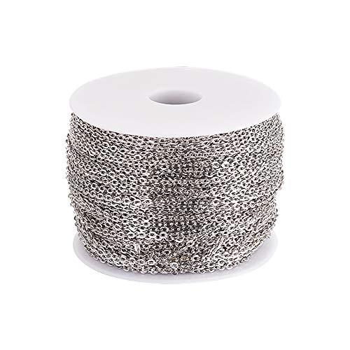 Cadena de eslabones de hierro de platino de 100 m, 3 x 2 mm, sin soldar, para collares, joyas, accesorios de bricolaje