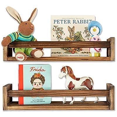 Set of 2 Rustic Wood Floating Nursery Shelves - Wall Shelves for Farmhouse Bathroom Decor, Kitchen Spice Rack, or Book Shelf Organizer for Baby Nursery D?cor