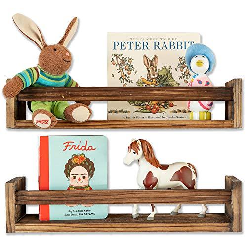 Set of 2 Rustic Wood Floating Nursery Shelves - Prebuilt Wall Shelves for Farmhouse Bathroom Decor, Kitchen Spice Rack, or Book Shelf Organizer for Baby Nursery Decor (Barnwood Brown)