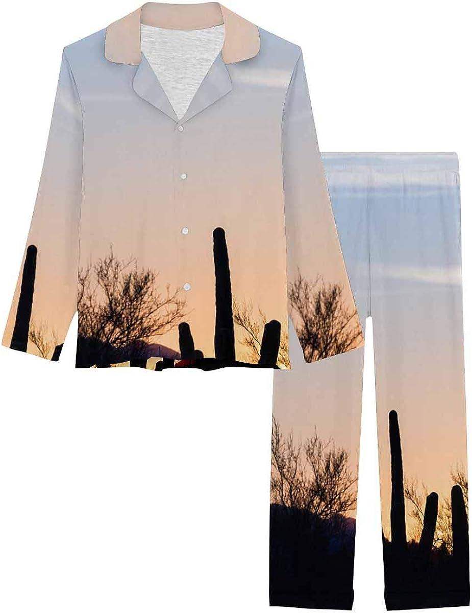 InterestPrint Soft Nightwear Loungewear with Long Pants Pajamas Set Desert Landscape at Sunset