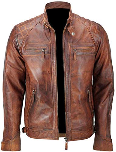 Mens Leather Jacket Stand Collar PU Faux Motocycle for sale  Delivered anywhere in UK