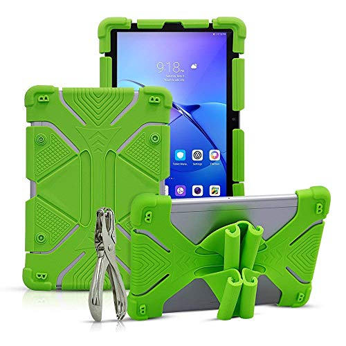 Golden Sheeps Shockproof Silicone Protective Stand Universal 10 inch Tablet Case Compatible for Dragon Touch X10 10.6 inch,10.1 inch,V10 10 inch,ASUS ZenPad 3S 10 9.7',ZenPad 10 10.1-inch (Green)
