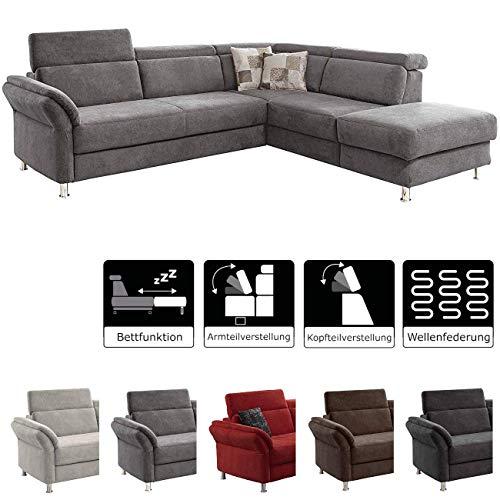 Cavadore Ecksofa Avagnoon mit Ottomane rechts, L-Form Sofa mit Kopfteilverstellung, Bettfunktion und Armteilverstellung, 269 x 81 x 228, Flachgewebe grau