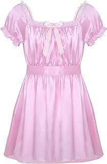 Freebily Mens Short Sleeve Shiny Satin Crossdress Lingerie Dress Nightwear Underwear