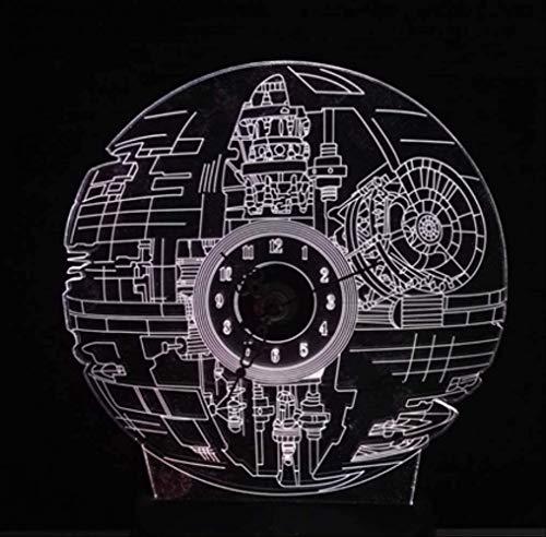 3D Nachtlicht Filmfans 3D Rgb Led Todesstern Uhr Mit Horologe Nachtlicht 7 Farbwechsel Schreibtisch Tischlampe Glanz Weihnachtsgeschenke Kinderspielzeug Touch One 7 Farben Todesstern Uhr