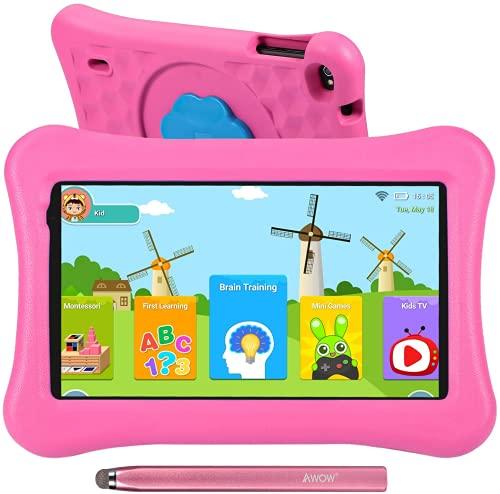 Tablet para niños de 10.1 Pulgadas AWOW Tablet Infantil, Android 10 Go Quad Core, 32GB ROM, iWawa Preinstalado, con Kid-Proof Funda y Lápiz Táctil, Control Parental, Doble Cámara, Rosa