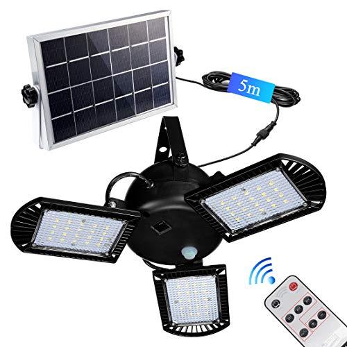 Solarleuchten, 60 Led Solarlampe mit 5m Kabel für AußEn Innen Gartenhaus Pavillon , 800 lm Solar Hängeleuchte deckenleuchte Garten [Energieklasse A++]