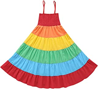Kids Baby Girls Princess Dress Spaghetti Strap Sleeveless Sling Chiffon Summer Rainbow Beach Party Casual Swing Tutu Dress