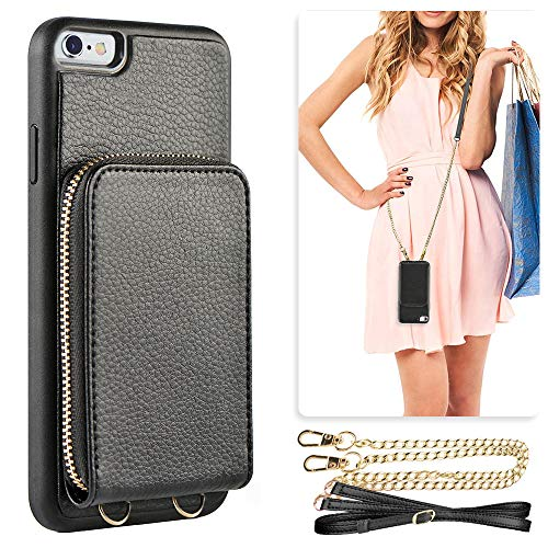 JLFCH iPhone 6 Plus Zipper Wallet Case, iPhone 6s Plus Wallet Leather Case with Card Slot Holder Detachable Wrist Strap Crossbody Chain Purse for iPhone 6/6s Plus 5.5 inch - Black