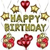 Jiaer Sentai decoración de cumpleaños, dorada HAPPY BIRTHDAY, Estrella dorada de cinco puntas y globo de amor rojo, globo de confeti, globos de oro rojo, para decoración de cumpleaños, bodas