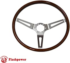 395mm Flashpower Classic Wood Steering Wheel Original Restoration Muscle Car