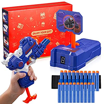 PlayFleur Toy Foam Blasters Gun and Electronic Shooting Target Scoring Auto Reset Digital Toys Set with 20 Pcs Refill Darts & 1 Hand Wrist Band for Nerf Guns Toys, Ideal Gift Toy for Kids Boys & Girls