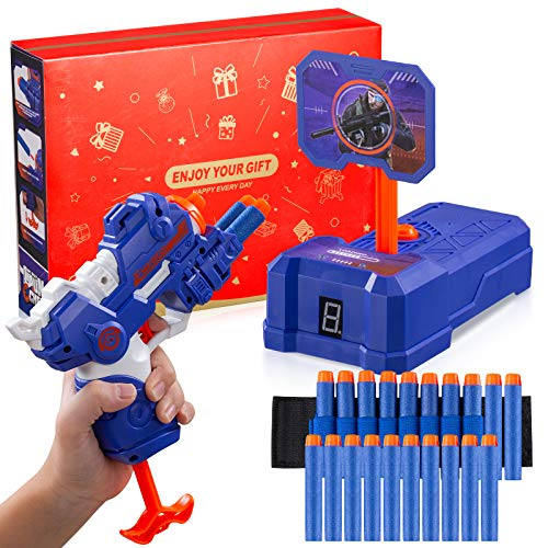 PlayFleur Foam Blasters Gun and Electronic Shooting Target Scoring Toys Set with 20 Refill Darts & 1 Hand Wrist Band for Nerf Guns Toys, Ideal Gift Toy for 5,6,7,8,9,10+ Years Old Kids Boys & Girls