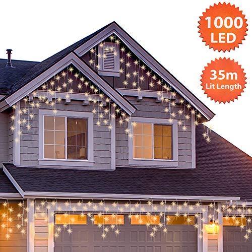 1000 LED Tenda luminosa, Luci natalizie per interni e esterni, Bianco Caldo con 8 modalità luce/timer, Memoria, trasformatore incluso, 35 m lunghezza- Cavo trasparente