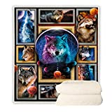 BEDBLK Moon Change Wolf Blanket Throws Super Soft Plush Warm Blanket for Sofa Couch Bed Travel Office Nap Indoor Bedroom Decor Blankets (Moon Change Wolf, 60'' x 50'')