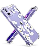GVIEWIN Clear Floral Case Compatible with iPhone 12 and iPhone 12 Pro 6.1 Inch 2020, Soft & Flexible TPU Shockproof Cover Women Girls Flower Pattern Phone Case (Windflower/White)
