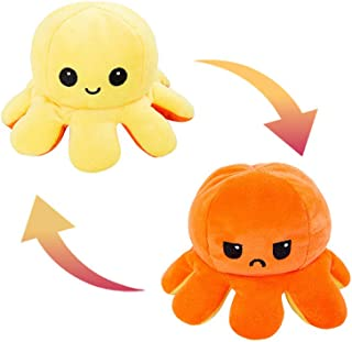 AKOD Reversible Octopus Plush, Cute Stuffed Animals, Good Gift for your kids or your friend Orange+Yellow