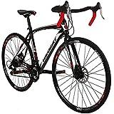 Road Bike LZ-550 Steel Bicycle disc Brake 21speed Road Bike Black/White 49cm