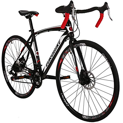 Road Bike LZ-550 Steel Bicycle disc Brake 21 Speed Road Bike Black/White