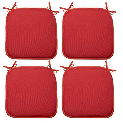 ZOLLNER 4 Cojines para Silla, 38x38 cm, Rojo, en Otros Colores, con Lazos