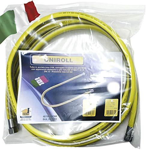 Tubo flessibile gas 4 mt metri 1/2 FF inox a norma EN 15266 per piano cottura/cucina UNIROLL