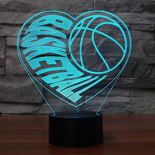 3D Visual Illusion Heart Basketball Led Lampe Transparent Acryl 3D Nachtlicht Led Lampa 7 Farbwechsel Touch Bulbing Lightin