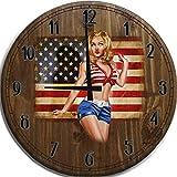 Large Wall Clock 24 Inch American Flag Pinup Girl Bikini Model Bar Sign Home Décor Brown Wall Decor