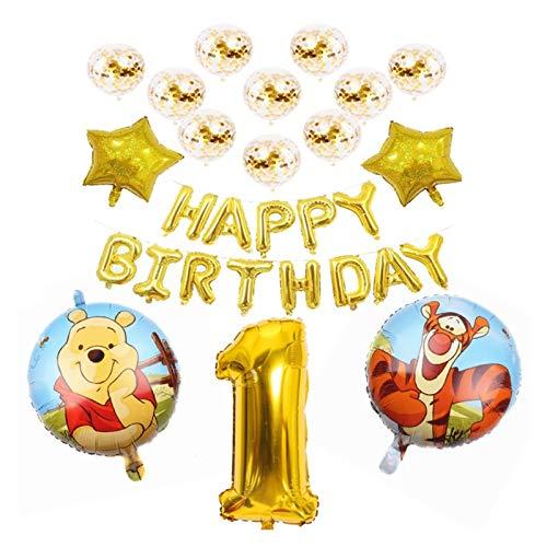 Djujiabh Luftballon 1Set Winnie The Pooh Cartoon Folie Ballons Happy Birthday Decorations Air Balloon Dekoration Kinder 32