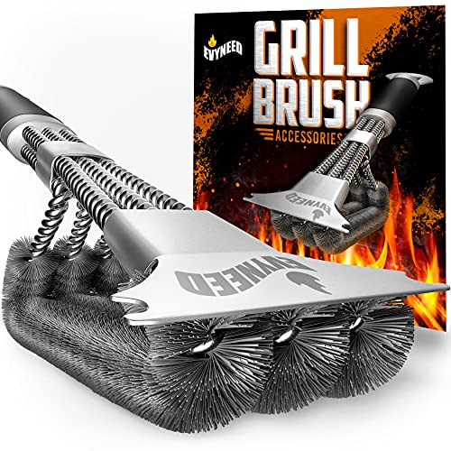 3 in 1 Stainless Steel Wire Bristle Grill Brush & Scraper Tool, Heavy Duty Grill Cleaner, Degreaser,...