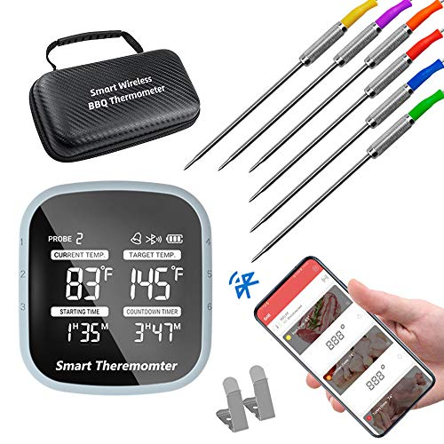 Bluetooth Meat Thermometer, Smart APP Control Wireless Remote Digital Cooking Food Meat Thermometer with 6 Stainless Steel Probe, for Grilling Baking Oven Food Smoker BBQ, Support IOS & Android
