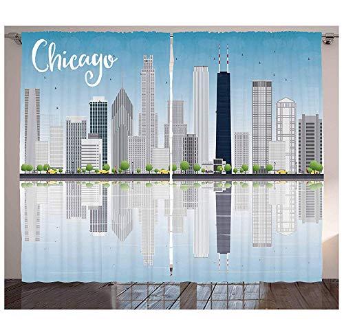 MUXIAND Chicago Skyline Gordijnen wolkenkrabber Lake Michigan Illinois Klassieke Amerikaanse landschap Street woonkamer slaapkamer raamgordijnen