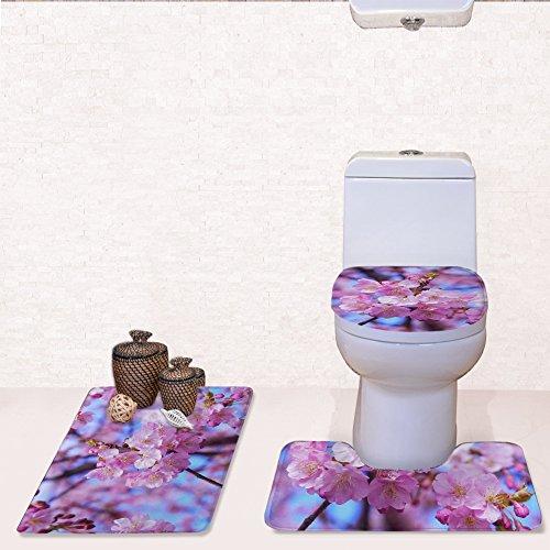 William 337 wc-hoezen badmat set bloemblaadjes 3 stks/badkamer mat sets, bad mat + voetstuk mat + wc stoelhoezen mat