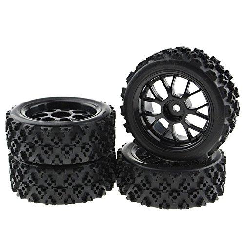 JIUWU 4PCS Black 1:10 Scale RC Tires Wheel Rims Crossing Rubber Off-Road Parts