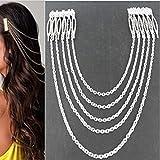 Yienate Cadena para el cabello con cadena de borla de aleación, peines, accesorios para el pelo, para mujeres y niñas (plata)