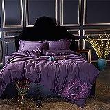 Juegos de fundas nórdicas Estilo europeo y americano Juego de ropa de cama bordada de 4 piezas 60S Algodón egipcio Suave y ligero Satén puro Calidad del hotel Manchas Resistente a las arrugas Colecció