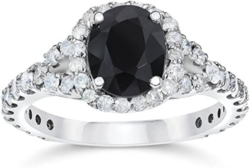 2 ct Black Sapphire Diamond Cushion Halo Engagement Ring 14K White Gold Size 4 5 product image