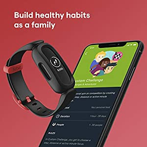 Fitbit Ace 3 Activity Tracker for Kids 6+ One Size, Black/Racer Red