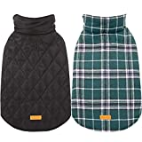 Kuoser Cozy Waterproof Windproof Reversible British Style Plaid Dog Vest Winter Coat Warm Dog Apparel Cold Weather Dog Jacket Small Medium Large Dogs Furry Collar (XXS - 4XL),Green XS