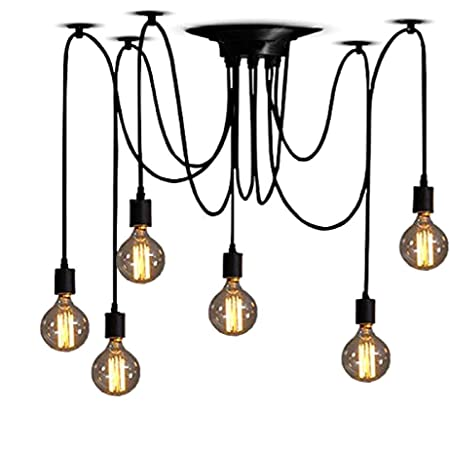 Classic Spider pendent Lamps, Ajustable DIY Ceiling Spider Light E27, Rustic Chandelier, Industrial Hanging Light Dining Hall Bedroom Hotel Decoration, 6 Arms(Each with 1.2m Wire)