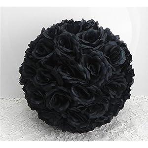 DIY 25 Colors Rose Pomander Flower Kissing Ball Parts Wedding Home Decoration Black – ball parts-15cm 5.9″