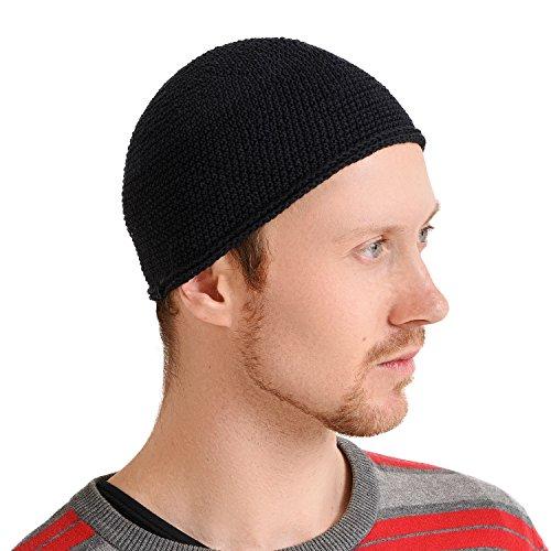 Casualbox Homme crâne chapeau Islam bonnet chapeau main fabriqué ajusté mode noir