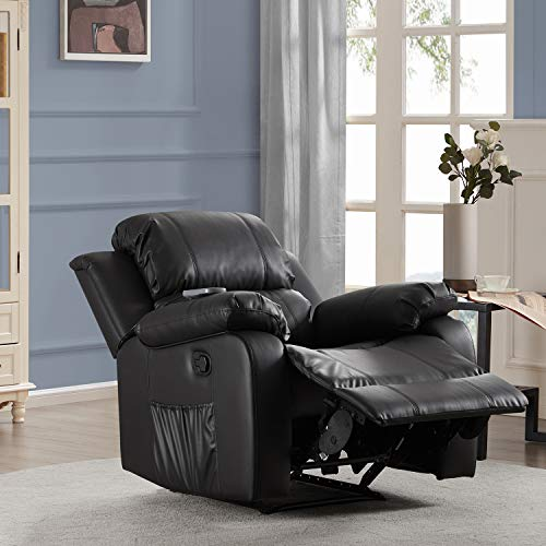 JIYUANDAO PU Leather Heated Massage Recliner Sofa Ergonomic Lounge with 8 Vibration Points