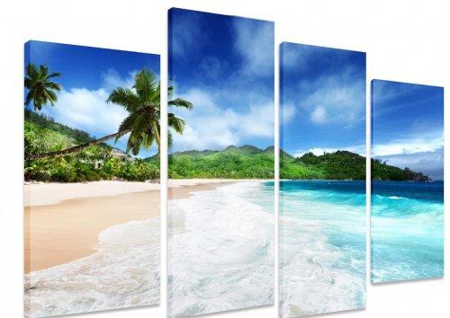 "Imagen–Multi Split Panel arte en lienzo Art–Playa En Mahe Island Seychelles Tropical agua mar océano palmeras azul cielo–Art Depot Outlet–4Panel–101cm x 71cm (40""x28"")"