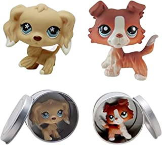 Opef 2PCS LPS Pet Collie Dog Child Girl Figure Toy Loose Cute(Yellow Brown)