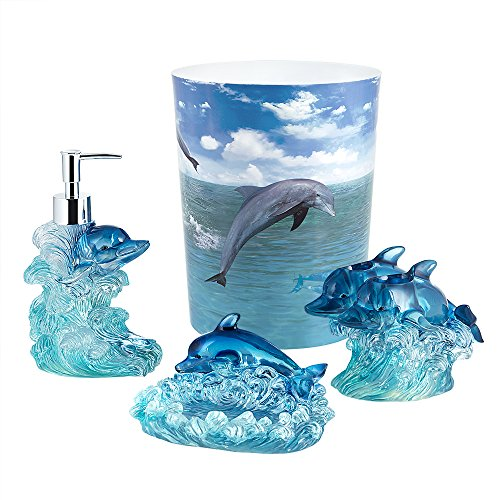 Allure Home Creation Bathroom Accessory Set - Dolphin 4pc Bathroom Set Including 1 Lotion Pump, 1 Toothbrush Holder, 1 Soap Dish and 1 Wastebasket