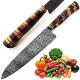 Cuchillo a medida, cuchillo hecho a mano, cuchillo de hoja de acero de Damasco, cuchillo artesanal, cuchillo de chef, cuchillo forjado a mano, cuchillo de cocina, cuchillo de hoja fija, 9600