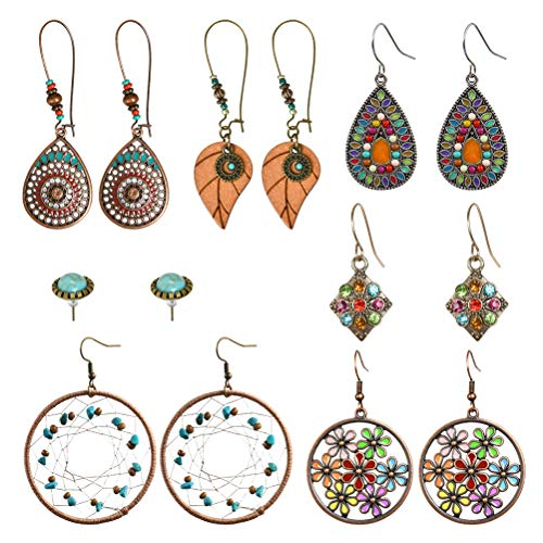 7 Pairs of Bohemian Vintage-Style Hanging Earrings, Boho/Retro/Rhinestone/Tree Earrings for Girls and Women