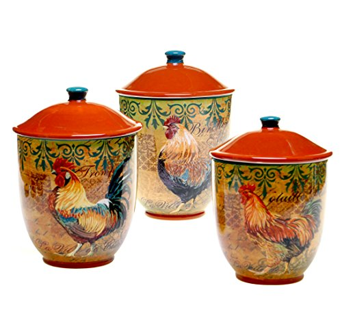 3-Piece Multicolor Rustic Rooster Canister Set